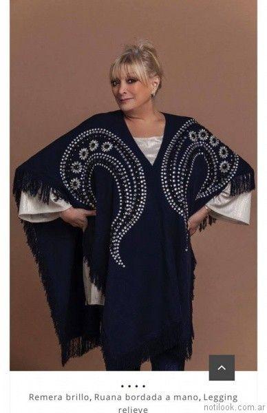 poncho tejido bordado Loren talles grandes otoño invierno 2017