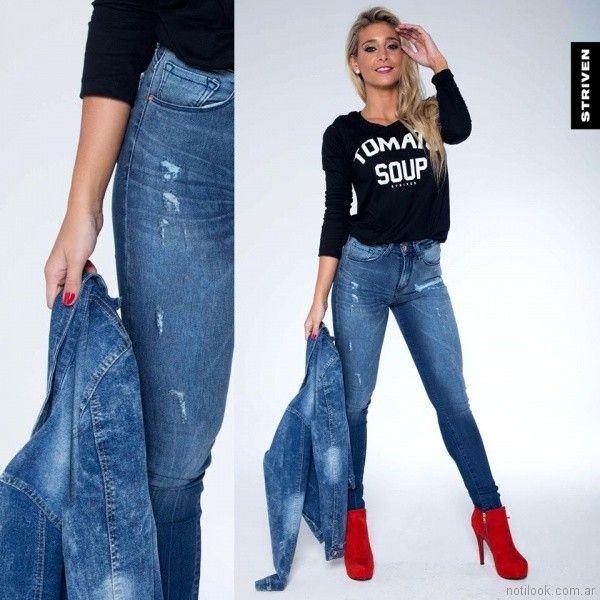 remera basica mangas largas con jeans chupin Striven Jeans invierno 2017