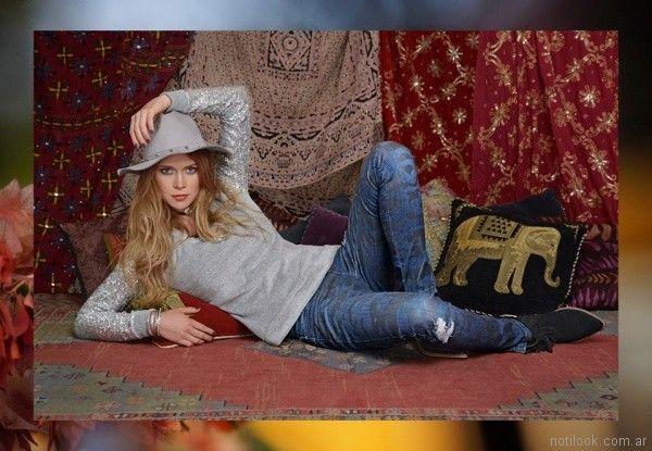 remera con mangas plateadas Mov Jeans invierno 2017