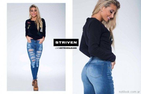 remera mangas largas con apliques y jeans con roturas Striven Jeans invierno 2017