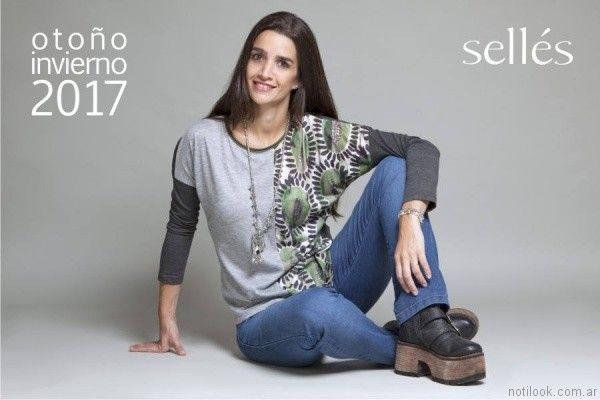 remeras mangas largas de jersey de algodon mujer Selles otoño invierno 2017