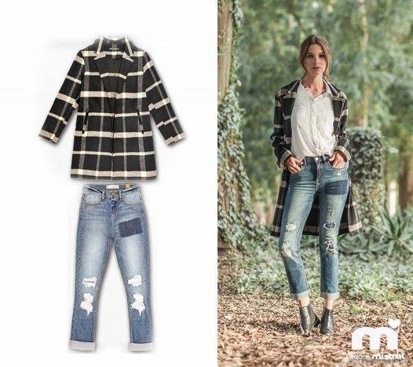 saco largo a cuadros y jeans roto Mistral mujer invierno 2017