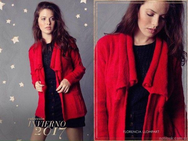 saco rojo de lana FLORENCIA LLOMPART tejidos mujer Invierno 2017