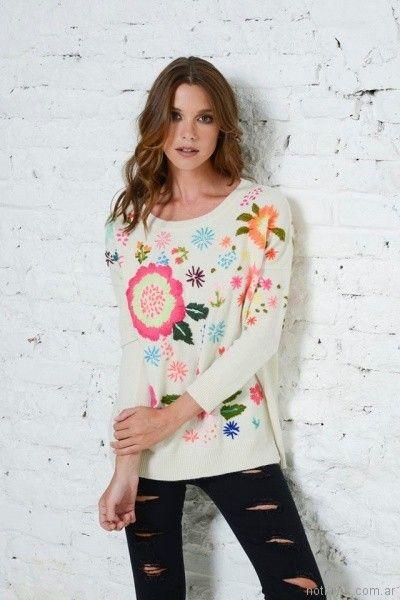 sweater bordado en hilos Doll Store invierno 2017
