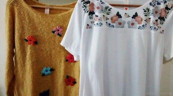 sweater de lana con flores bordadas las Iulas invierno 2017