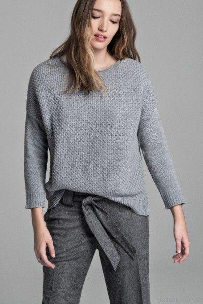sweater de lana gruesa y pantalon de vestir grueso Giesso mujer otoño invierno 2017