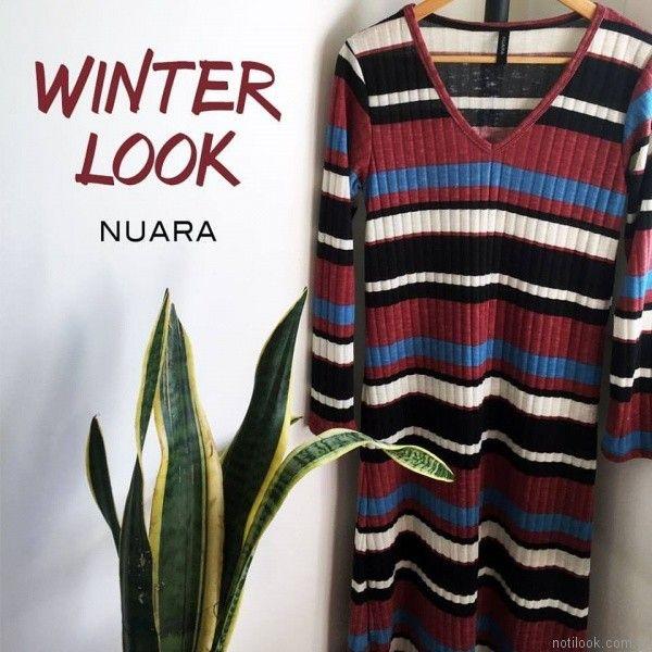 vestido mangas largas casual Nuara otoño invierno 2017