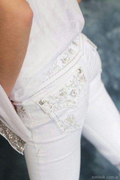 Jeans blanco bordados verano 2018 - Tivoglio bene