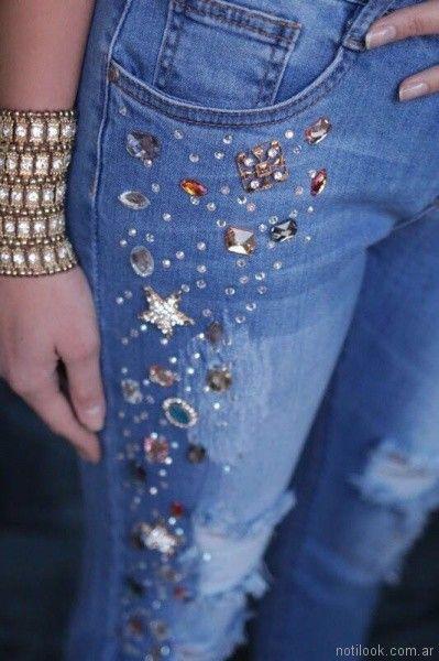 Jeans con apliques de stras y gemas verano 2018 - Tivoglio bene