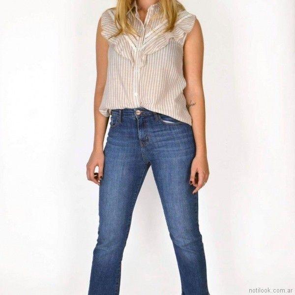 blusa a rayas con jeans primavera verano 2018 SUMMA