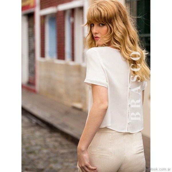 blusa con aplique de encaje y puntilla Brasco primavera verano 2018