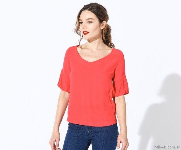 blusas mangas corta de seda Markova Primavera verano 2018