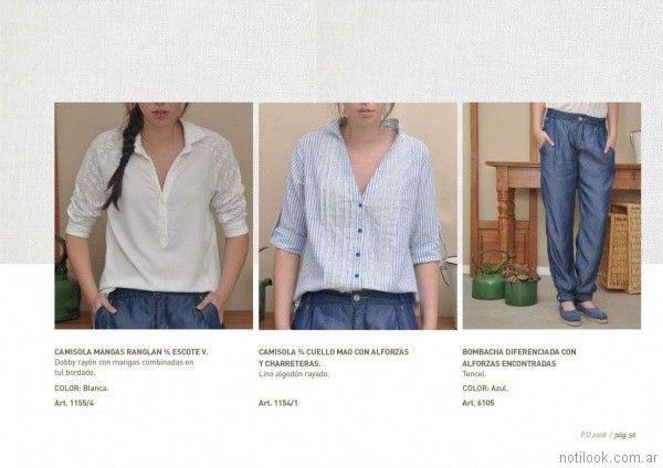 camisa con mangas de broderie blanca las Taguas primavera verano 2018