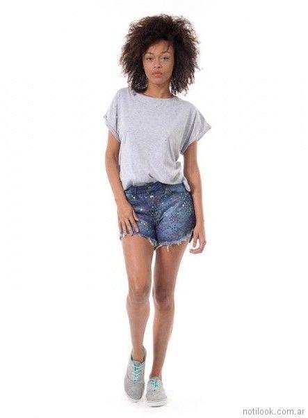 short con tachas Minnakazzira Jeans primavera verano 2018