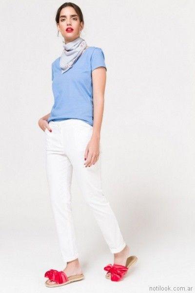 Jeans blanco para mujer verano 2018 Portsaid