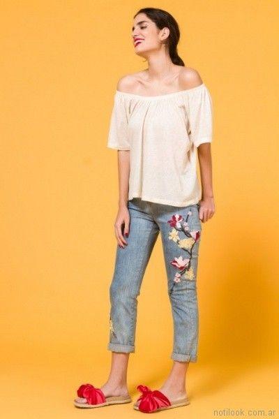 Jeans bordados para mujer verano 2018 Portsaid