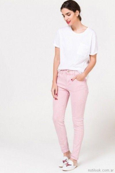 Jeans rosado chupin para mujer verano 2018 Portsaid