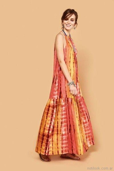 Maxivestido estampado batik primavera verano 2018 - India Style
