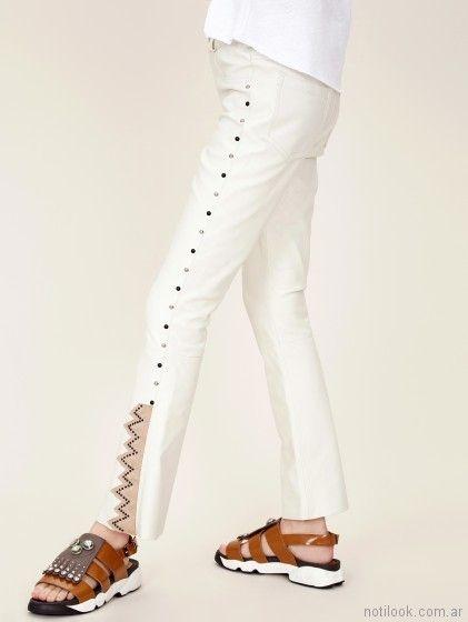 2018 Jazmin Pantalon Verano Cuero Crudo Moda Chebar Simil Mujer 80POwkn