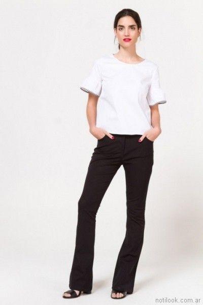 Pantalon de vestir negro para mujer verano 2018 Portsaid