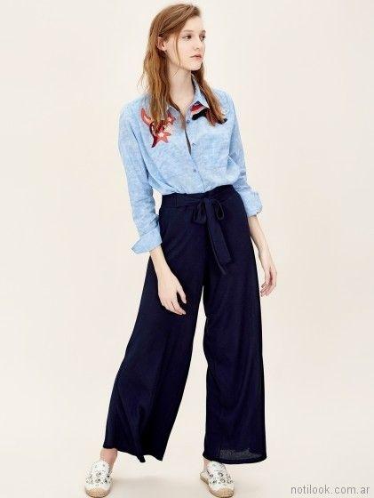 Pantalon palazzo con camisa verano 2018 - Jazmin Chebar