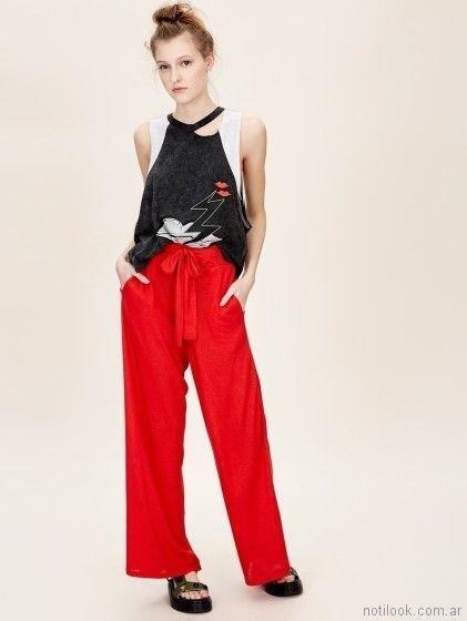 Pantalon palazzo con remera verano 2018 - Jazmin Chebar