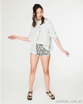 Short con camisola celeste verano 2018 - WANAMA