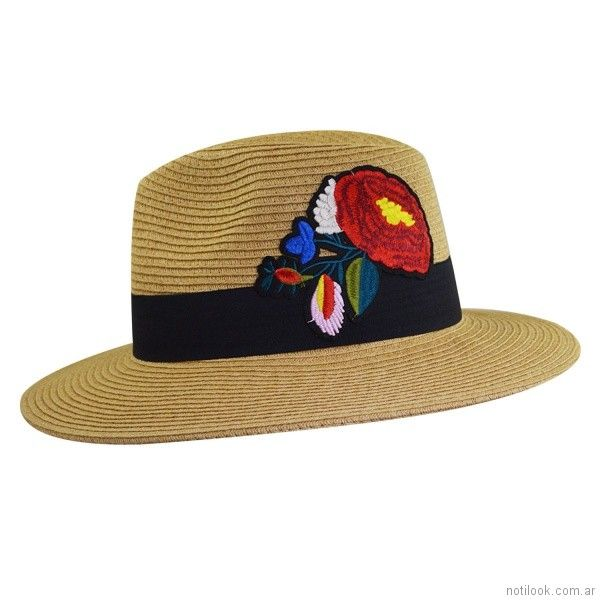 Sombrero de rafia con bordada verano 2018 - compañia de sombrero