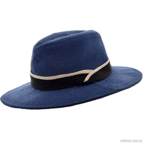 Sombrero tejido artesanal azul verano 2018 - compañia de sombrero