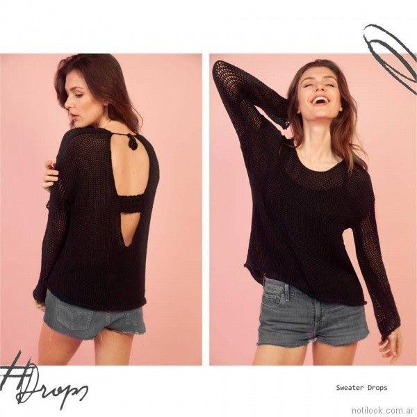Sweater negro calado Florencia Llompart Tejidos verano 2018