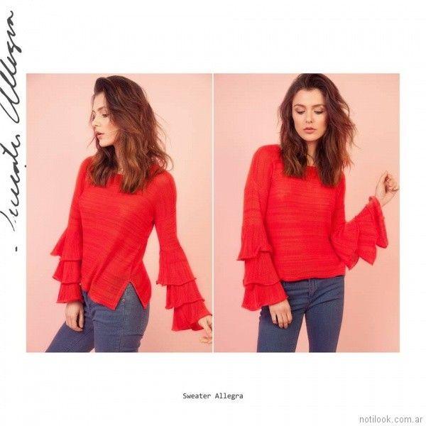 Sweater rojo con volados Florencia Llompart Tejidos verano 2018