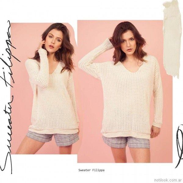 Sweater tejido calado Florencia Llompart Tejidos verano 2018