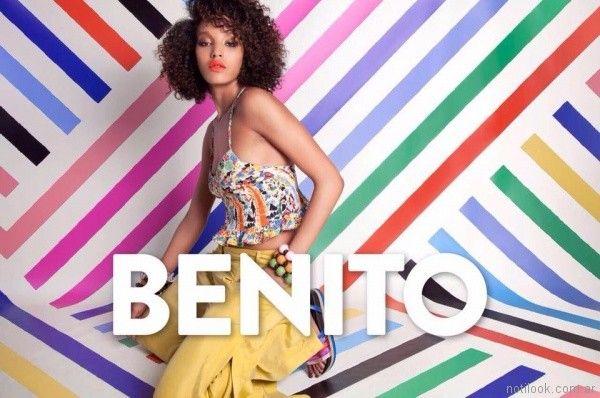 Top estampado y jeans amarillo verano 2018 - Benito Fernandez