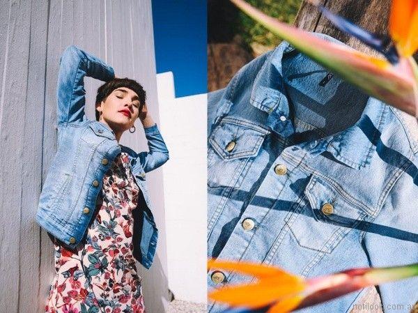 Vestido corto estampado con campara de jeans primavera verano 2018 - Pablo Mei