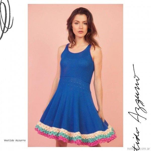 Vestido tejido turquesa Florencia Llompart Tejidos verano 2018