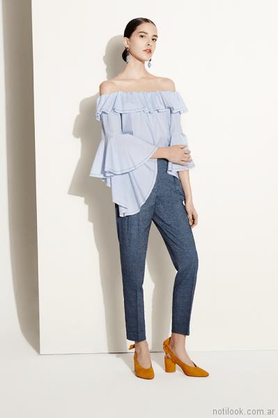blusa con volados Clara ibarguren primavera verano 2018