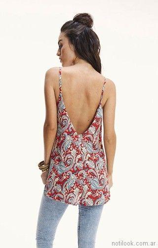 blusa de gasa con espalda en v Rimmel primavera verano 2018