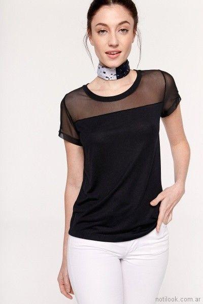 blusa mangas cortas negra