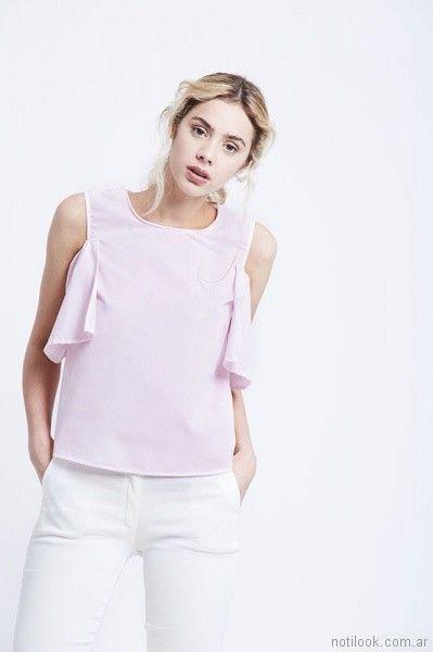 blusa rosa con volados verano 2018 - Prussia