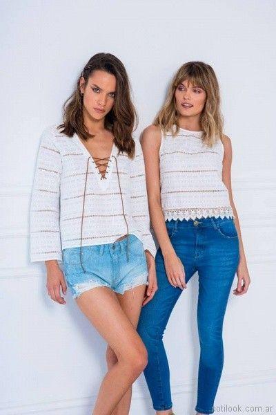 blusas de hilo con puntilla a crochet Doll store primavera verano 2018