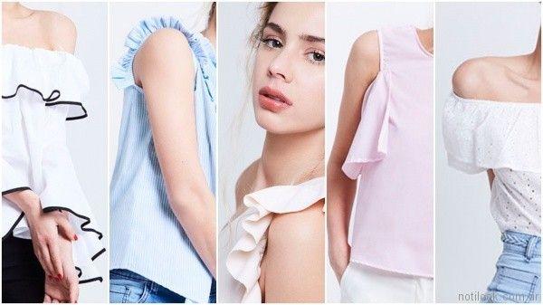 blusas de moda con volado verano 2018 Prussia