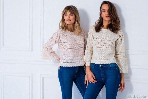 blusas mangas largas de brederie Doll store primavera verano 2018