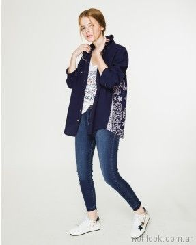 camisa azul y jeans chupin verano 2018 - WANAMA