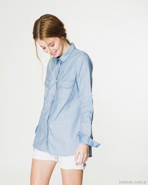 camisa celeste con short blanco verano 2018 - WANAMA