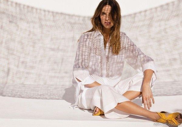 camisa de broderie blanca para señoras Rafael Garofalo verano 2018