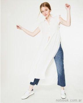 camisa larga blanca verano 2018 - WANAMA
