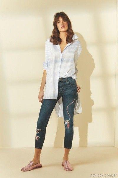 camisa larga y jeans chupin Maria cher primavera verano 2018