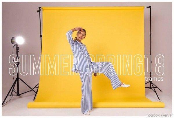 camisas y palazzo a rayas tramps moda juvenil primavera verano 2018