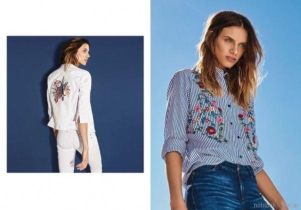 camisas y saquitos bordados en hilos para señoras Rafael Garofalo verano 2018