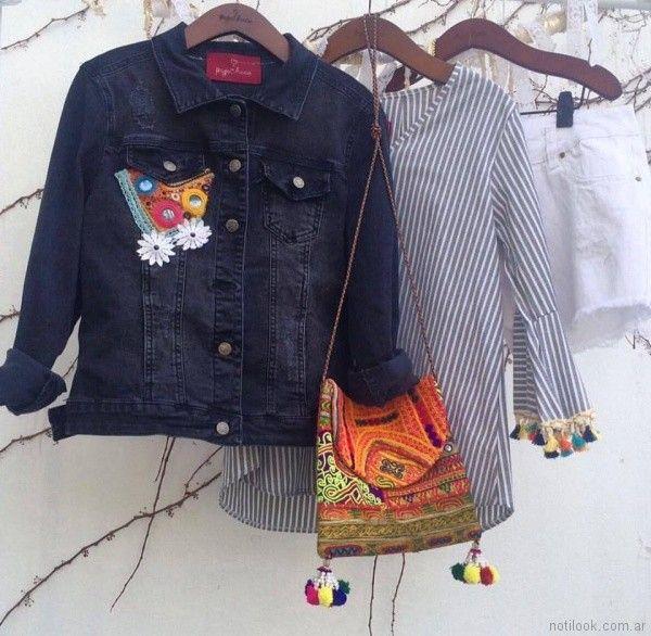 campera de jeans con apliques Pago Chico primavera verano 2018